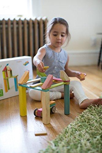 Маленькая девочка играет с конструктором